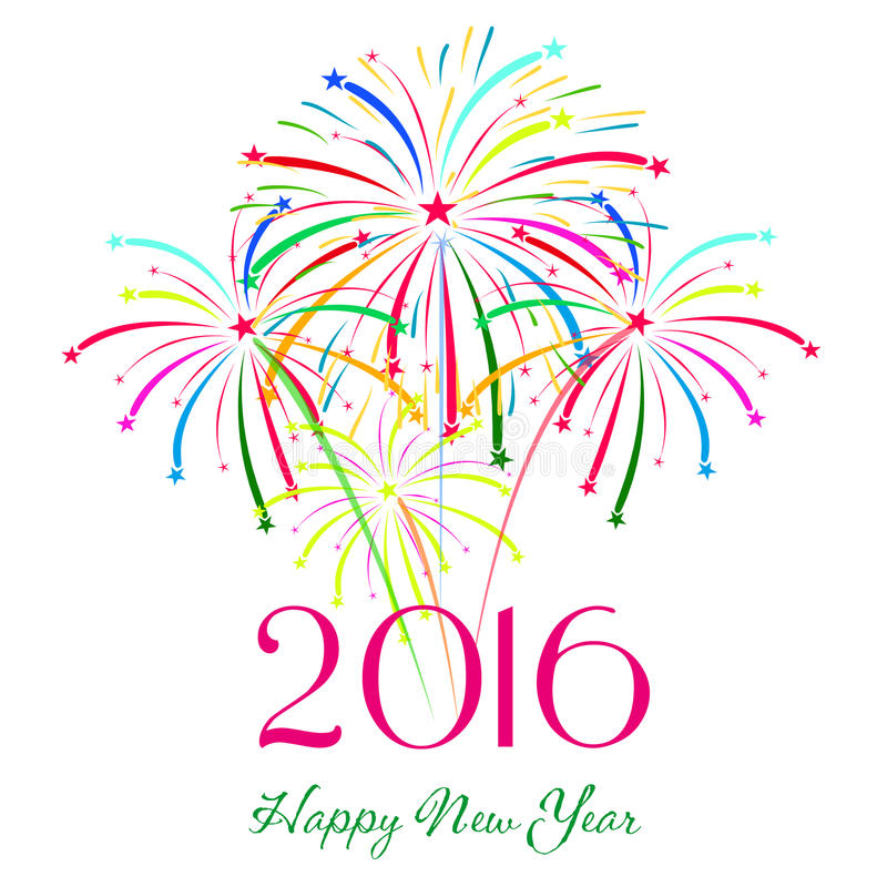 Gelukkig nieuw jaar 2016 met de achtergrond van de vuurwerkvakantie royalty-vrije illustratie