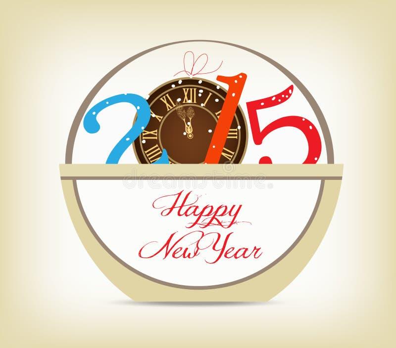 Gelukkig nieuw jaar 2015 met klokgoud stock illustratie