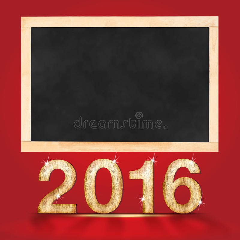 Gelukkig nieuw jaar 2016 met leeg bord in rode studioruimte, moc stock illustratie