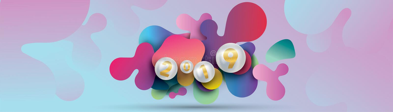 2019 Gelukkig nieuw jaar met met vloeibare dynamische vloeibare gebieden en Kerstmisballen of abstracte ballen of bellen 3d ruimt royalty-vrije illustratie