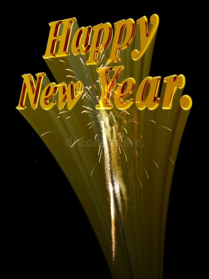 Gelukkig nieuw jaar met vuurwerk. stock illustratie
