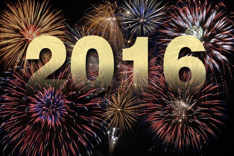 Gelukkig nieuw jaar 2016 met vuurwerk stock foto's