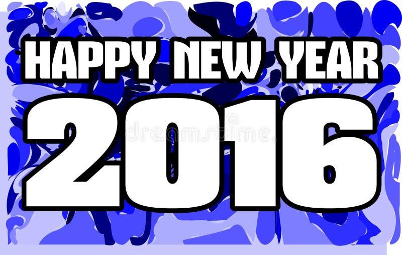 Gelukkig nieuw jaar 2016 op blauwe achtergrond royalty-vrije illustratie