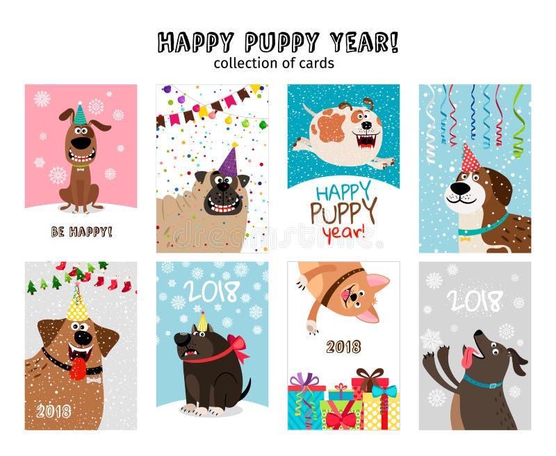 Gelukkig nieuw jaar, puppykaarten royalty-vrije illustratie