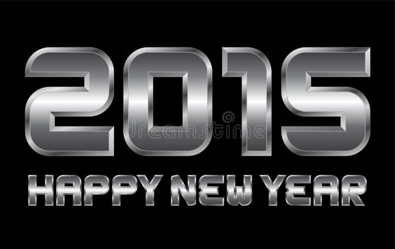 Gelukkig nieuw jaar 2015 - rechthoekige afgeschuinde metaalbrieven royalty-vrije illustratie