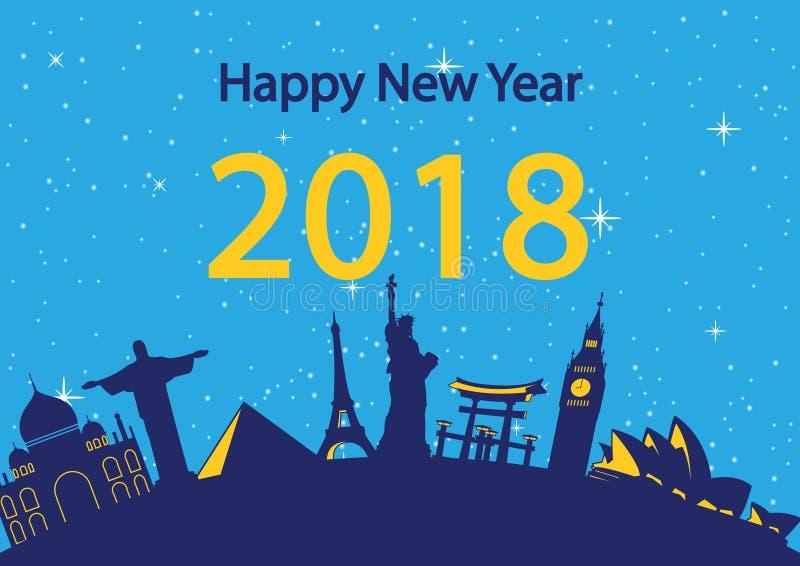 Gelukkig nieuw jaar rond het wereldoriëntatiepunt, gelukviering, royalty-vrije illustratie