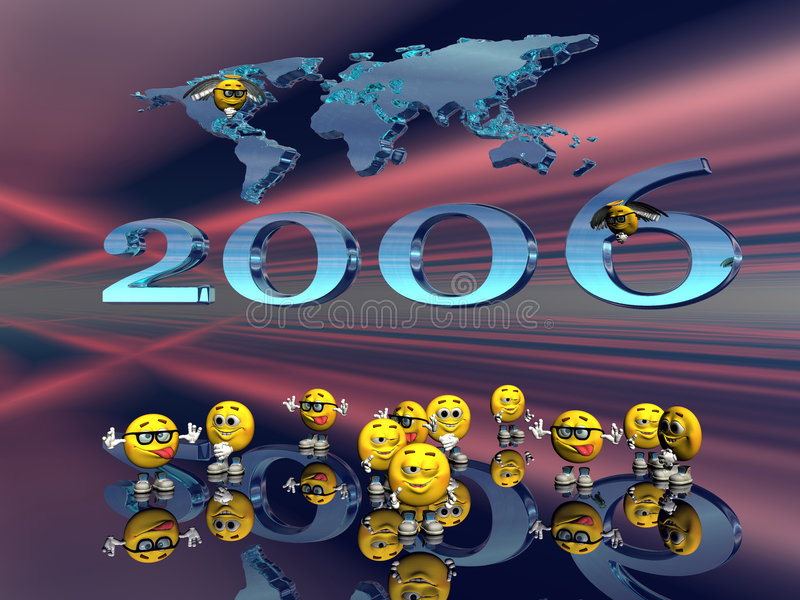 Gelukkig nieuw jaar van de emoticonkerels. vector illustratie