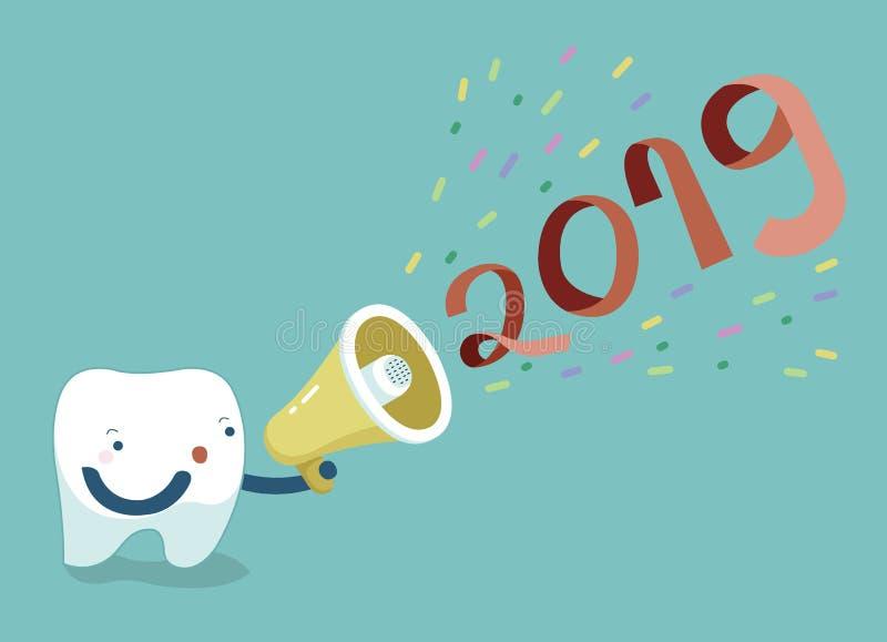 Gelukkig nieuw jaar van tand, tand die met megafoon zeggen vector illustratie