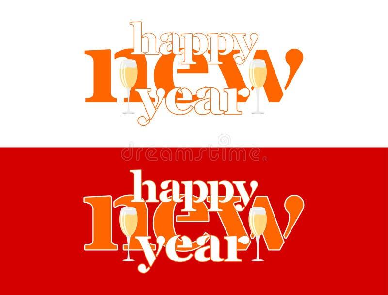 Gelukkig nieuw jaar - woorden op het woord en twee glazen champagne royalty-vrije illustratie