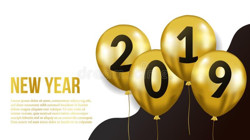 Gelukkig nieuw van de jaarbanner malplaatje als achtergrond met gouden vliegende heliumballon Vector illustratie vector illustratie
