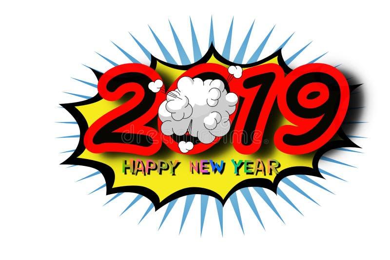 2019 Gelukkig Nieuwjaar royalty-vrije illustratie