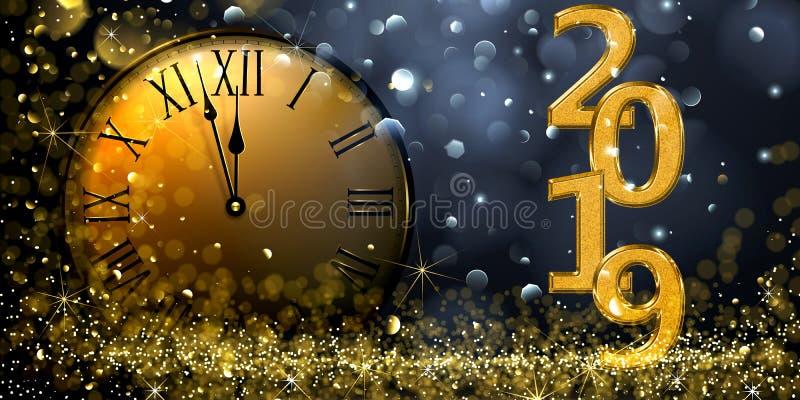 Gelukkig Nieuwjaar 2019 stock illustratie