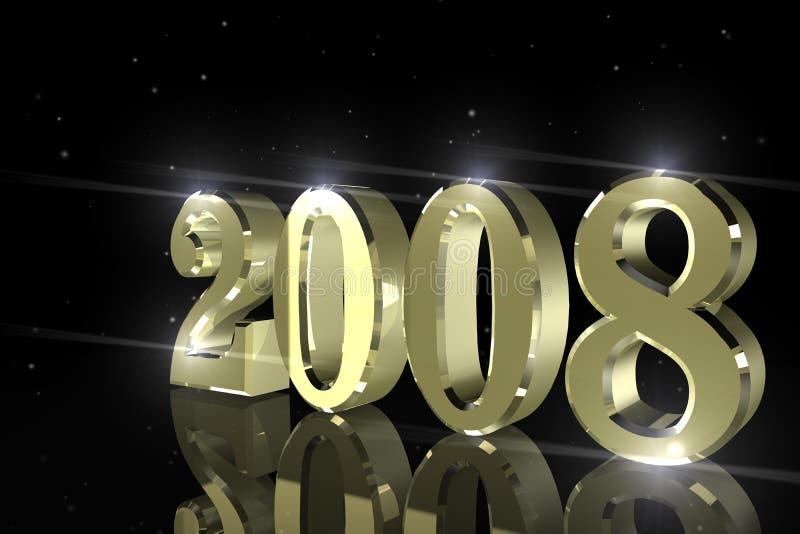 Gelukkig Nieuwjaar, 2008 stock illustratie