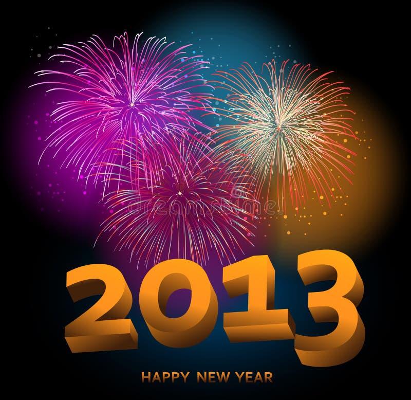 Gelukkig Nieuwjaar 2013 vuurwerk royalty-vrije illustratie