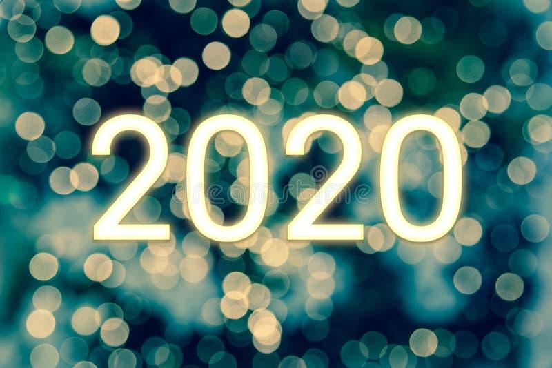 Gelukkig nieuwjaar 2020 Bokeh Lights Abstract Background stock afbeeldingen