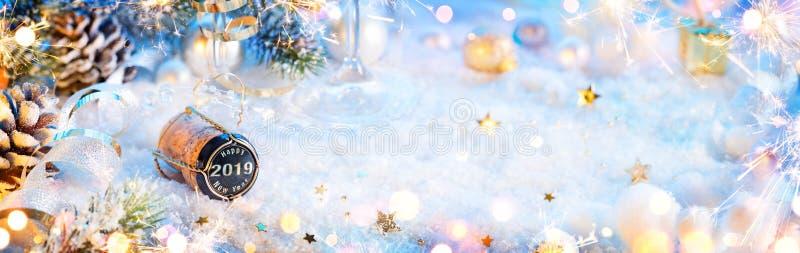 2019 Gelukkig Nieuwjaar - Champagne Cork royalty-vrije illustratie