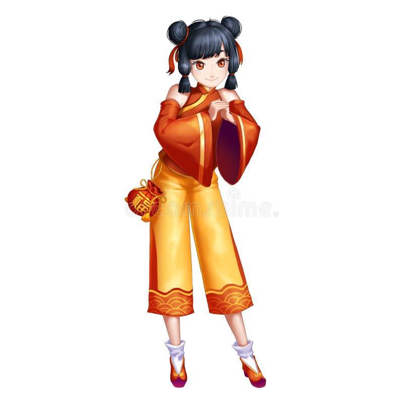 Gelukkig Nieuwjaar Chinees Traditioneel Meisje met de Stijl van Anime en van het Beeldverhaal royalty-vrije illustratie
