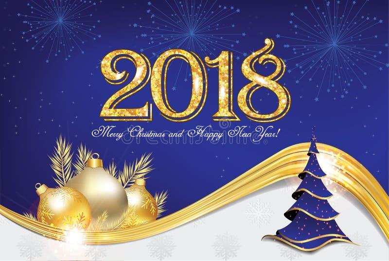 Gelukkig Nieuwjaar 2018! - collectieve groetkaart met blauwe achtergrond vector illustratie