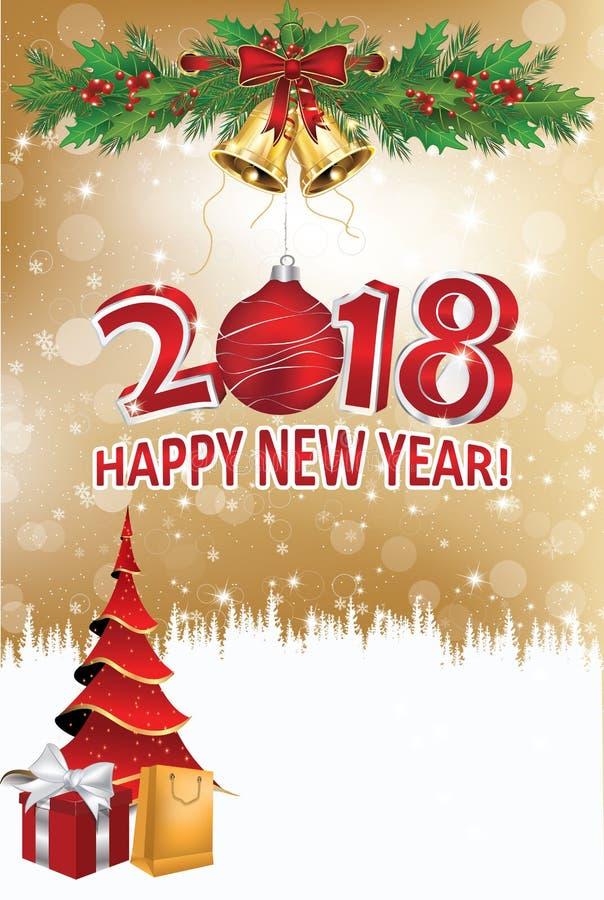 Gelukkig Nieuwjaar 2018! - collectieve groetkaart met bleke gouden achtergrond stock illustratie