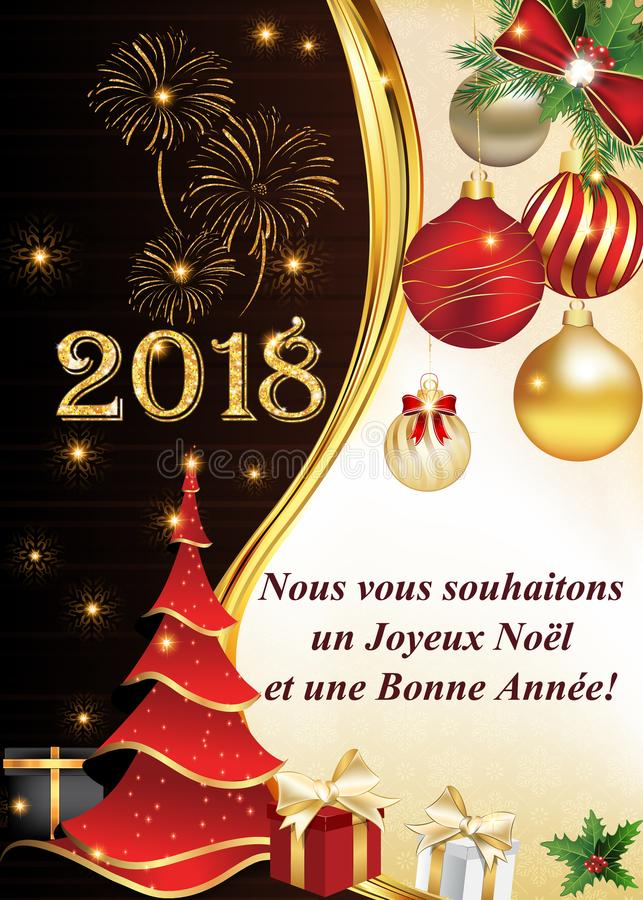 Gelukkig Nieuwjaar! - collectieve groetkaart met tekst in het Frans royalty-vrije illustratie