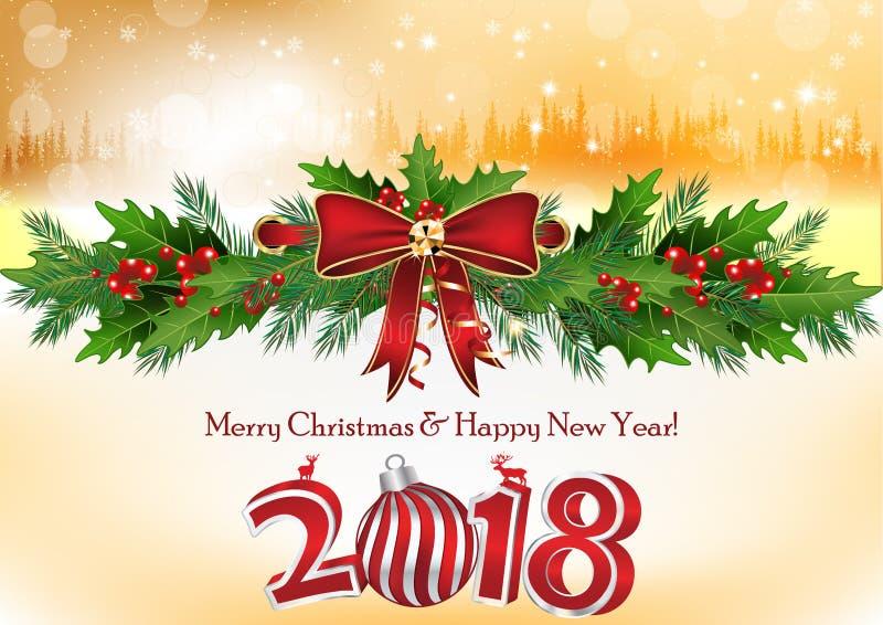 Gelukkig Nieuwjaar 2018! - collectieve groetkaart met zilveren en gouden achtergrond stock illustratie