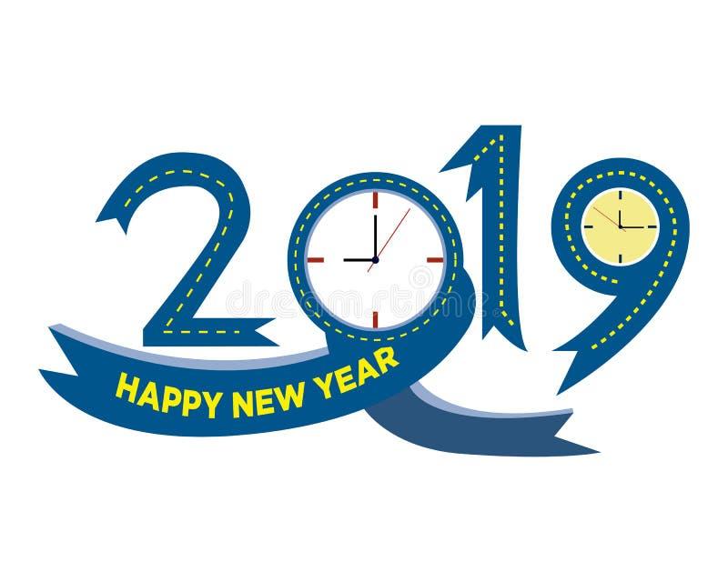 2019 Gelukkig Nieuwjaar creatief ontwerp voor uw groetenkaart, vliegers, uitnodiging, affiches, brochure, banners, kalender Vecto stock fotografie