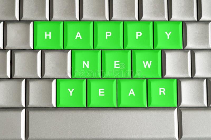 Gelukkig Nieuwjaar dat op een metaaltoetsenbord wordt gespeld vector illustratie