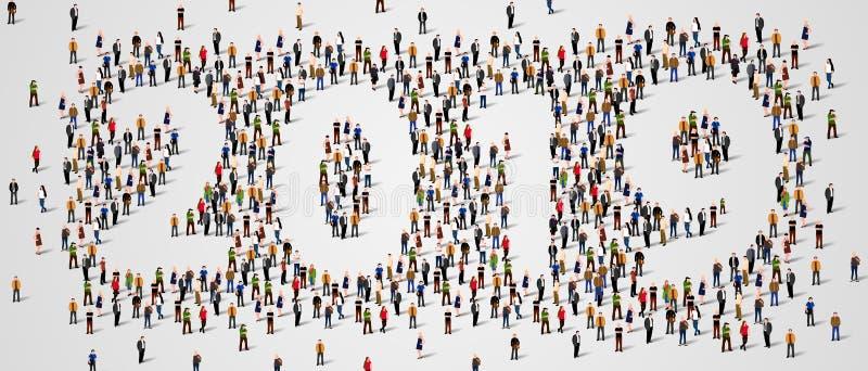 Gelukkig Nieuwjaar 2019 De grote en diverse groep mensen verzamelde zich samen in de vorm van nummer 2019 royalty-vrije illustratie