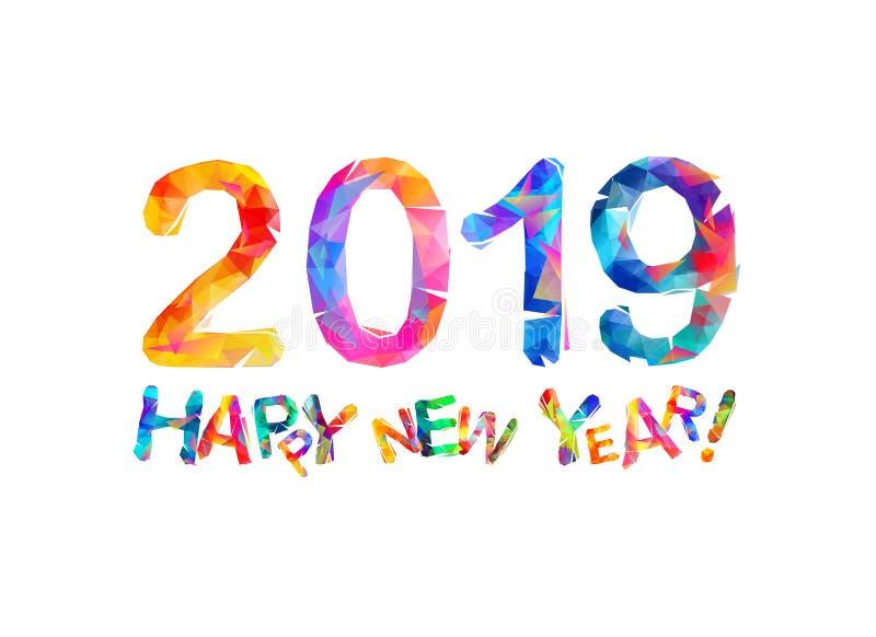 Gelukkig Nieuwjaar 2019 De kaart van de gelukwens stock illustratie