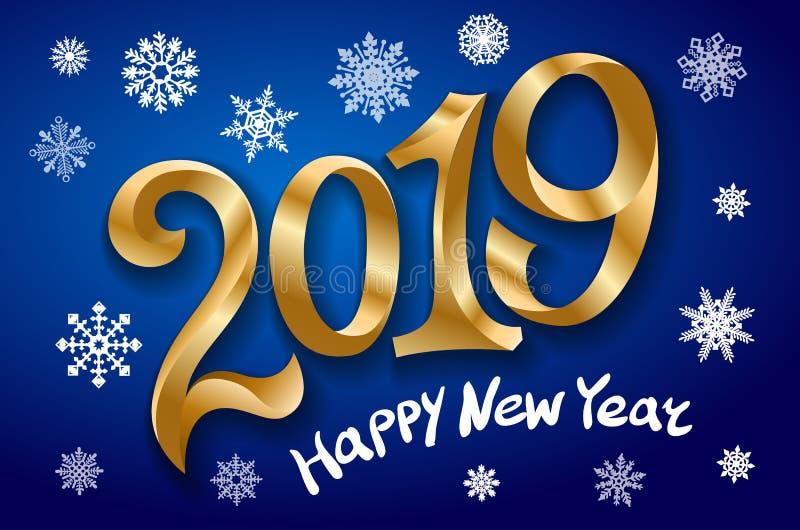 Gelukkig Nieuwjaar 2019 De kaart van de groet Twee duizend negentien band gouden aantal op blauwe achtergrond Sneeuwvlokken Vecto stock illustratie