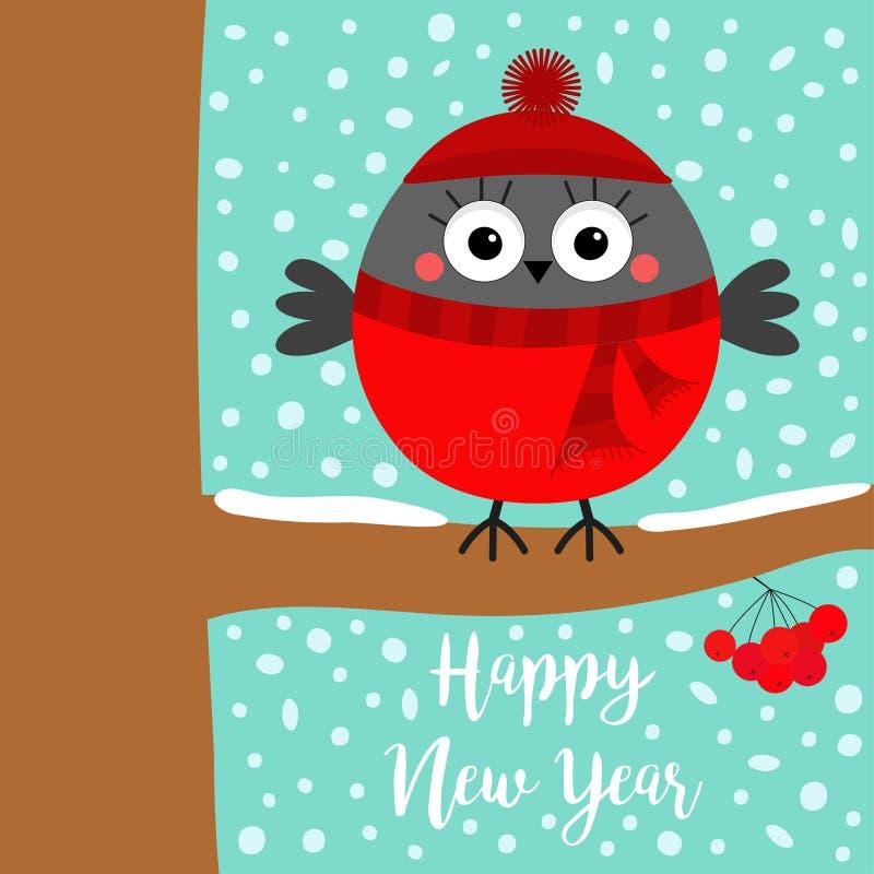 Gelukkig Nieuwjaar De vogel van de goudvinkwinter op lijsterbessenlijsterbes absorbeert de tak van de bessenboom Rode hoed, sjaal stock illustratie