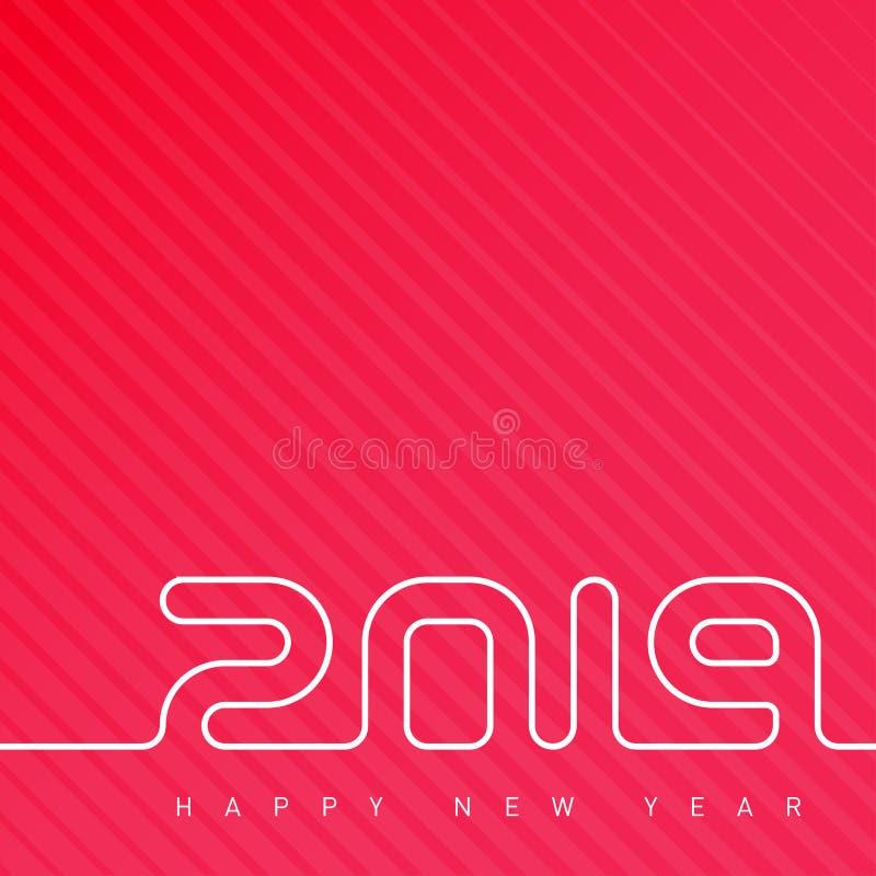 Gelukkig Nieuwjaar 2019 Dekking van de kalender Creatief het ontwerpmalplaatje van de groetkaart Universele Vectorachtergrond met vector illustratie