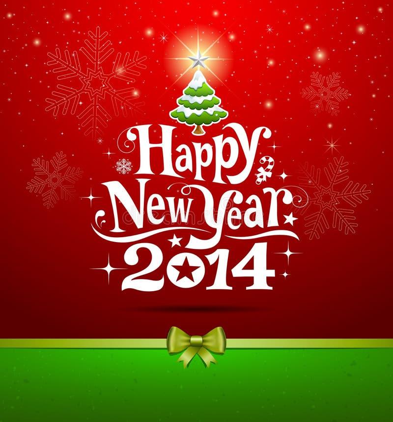 Gelukkig Nieuwjaar 2014 die van letters voorzien stock illustratie