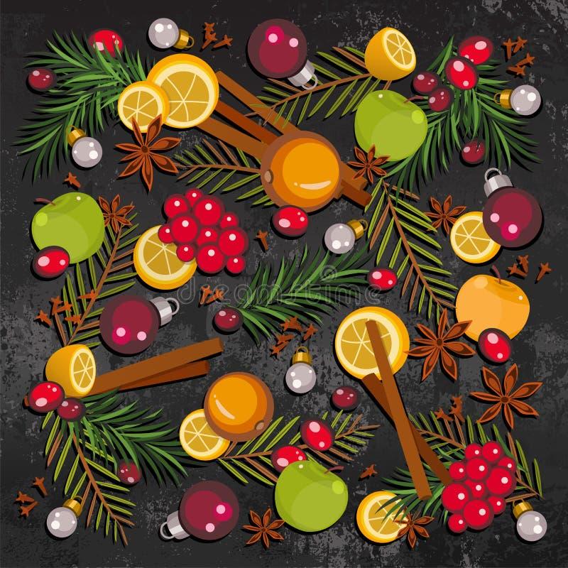 Gelukkig Nieuwjaar en de Vrolijke achtergrond van Kerstmis royalty-vrije illustratie