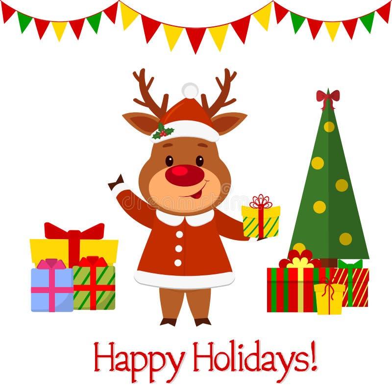 Gelukkig Nieuwjaar en de Vrolijke kaart van de Kerstmisgroet Een leuk hert in een santakostuum houdt een gift Kerstboom en dozen  royalty-vrije illustratie