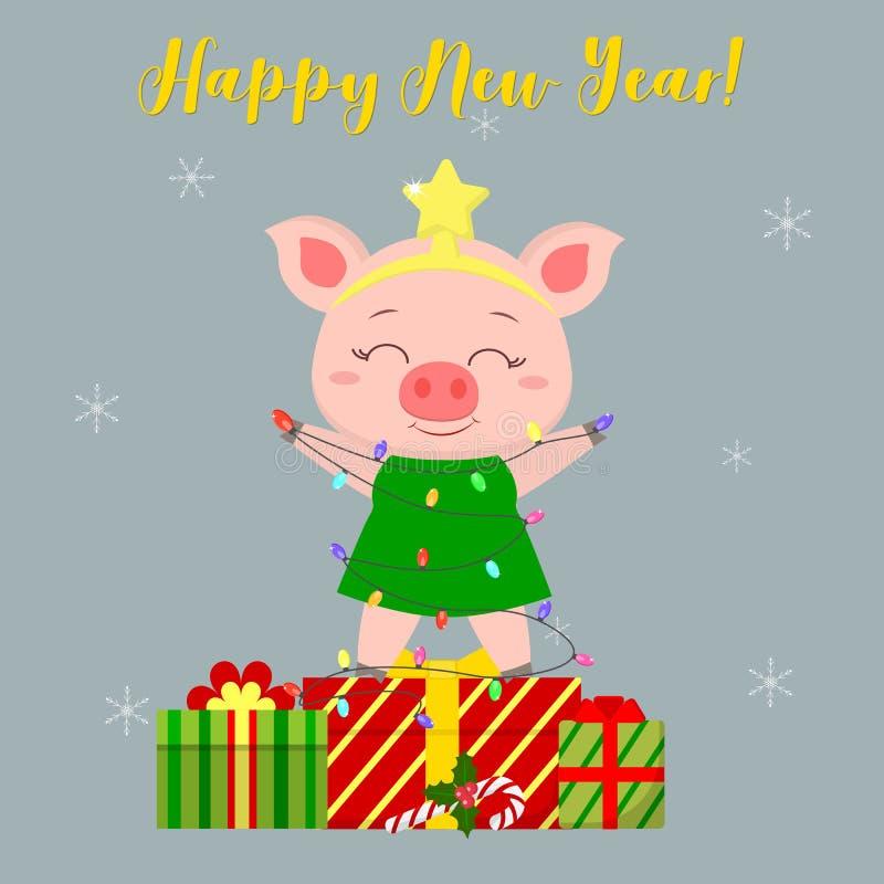 Gelukkig Nieuwjaar en de Vrolijke kaart van de Kerstmisgroet Leuk varken in een kostuumkerstboom en een slinger Het is op de doos royalty-vrije illustratie