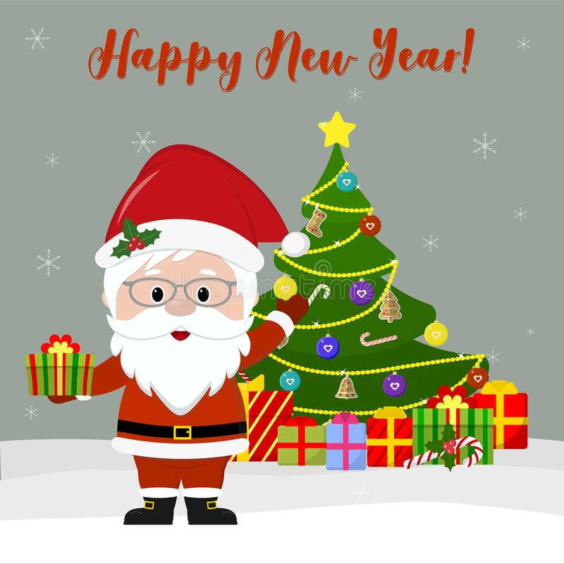 Gelukkig Nieuwjaar en de Vrolijke kaart van de Kerstmisgroet Leuke Santa Claus in glazen houdt een gift, naast de Kerstboom en de stock illustratie