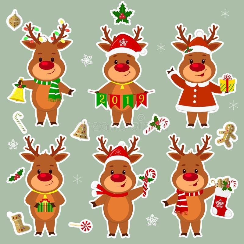 Gelukkig Nieuwjaar en de Vrolijke kaart van de Kerstmisgroet De reeks van zes hertenstickers in verschillende kostuums en stelt i royalty-vrije illustratie