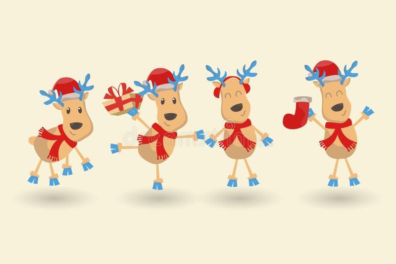 Gelukkig Nieuwjaar en de Vrolijke kaart van de Kerstmisgroet De reeks van zes rendieren in verschillende kostuums en stelt, diver vector illustratie