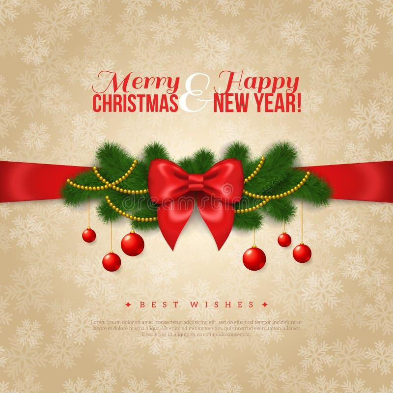 Gelukkig Nieuwjaar en Vrolijk de Kaartontwerp van de Kerstmisgroet vector illustratie