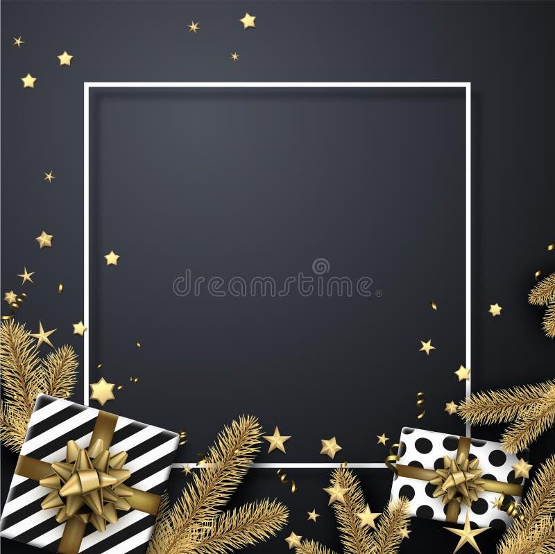 Gelukkig Nieuwjaar en Vrolijke Kerstkaart met spartakken en gi royalty-vrije illustratie