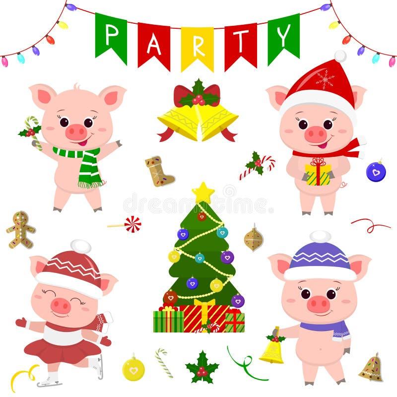 Gelukkig Nieuwjaar en Vrolijke Kerstmis Een reeks van vier leuke varkens in verschillende kostuums Kerstboom, giften en andere pa vector illustratie