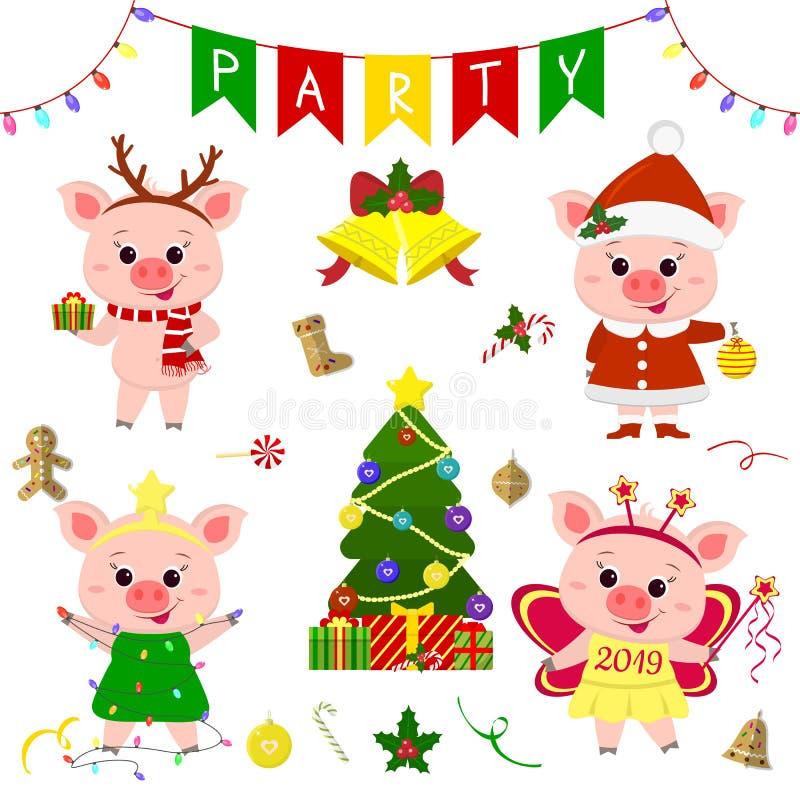 Gelukkig Nieuwjaar en Vrolijke Kerstmis Een reeks van vier leuke varkens in verschillende kostuums Kerstboom, giften en andere pa royalty-vrije illustratie