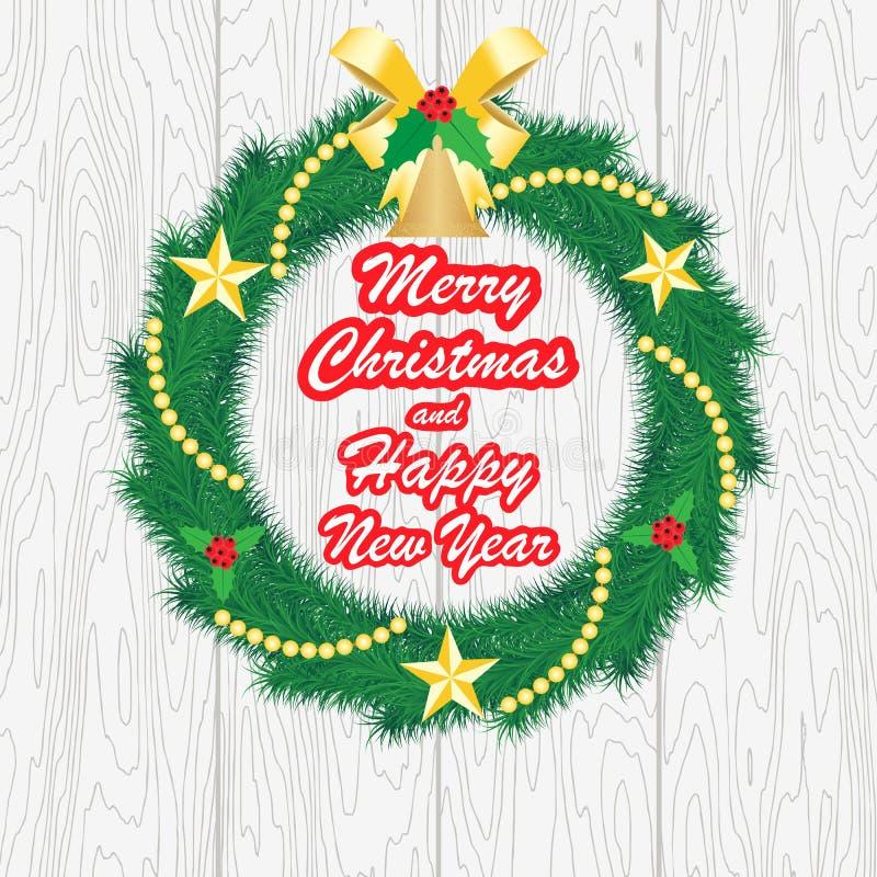 Gelukkig Nieuwjaar en Vrolijke Kerstmis, Vectorillustratie vector illustratie