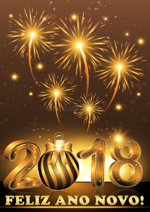 Gelukkig Nieuwjaar 2018 geschreven in het Portugees vector illustratie