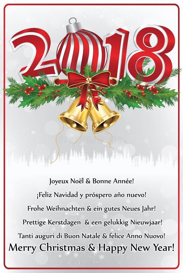 Gelukkig Nieuwjaar 2018 geschreven in vele talen Groetkaart voor het vakantieseizoen dat wordt ontworpen vector illustratie