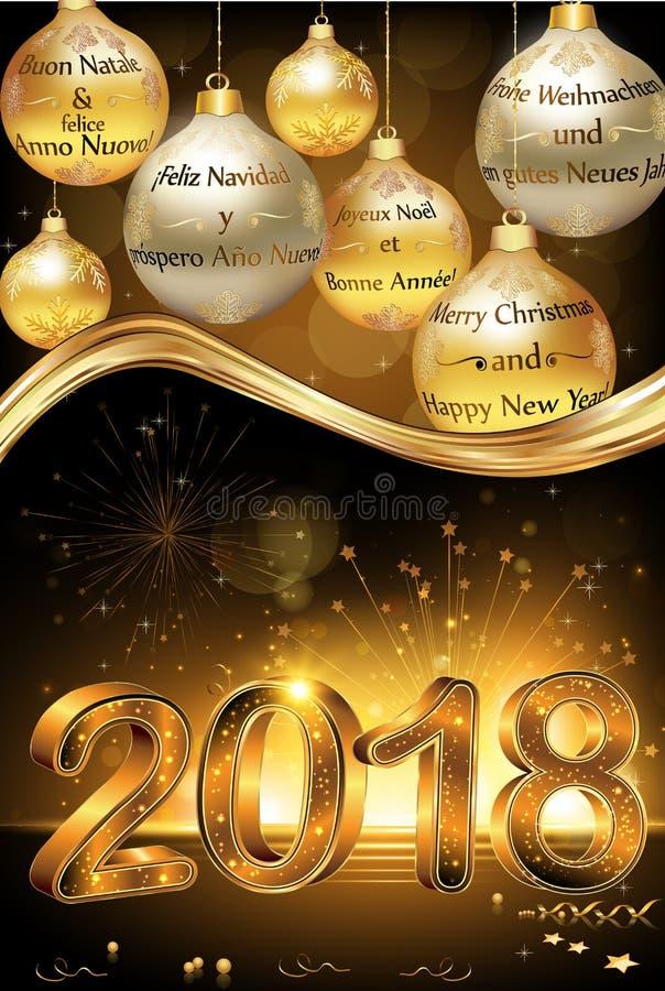 Gelukkig Nieuwjaar 2018 geschreven in verscheidene talen Collectieve groetkaart royalty-vrije illustratie