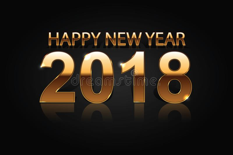 Gelukkig Nieuwjaar 2018 gouden cijfers met glanzende bezinningen tegen zwarte achtergrond royalty-vrije illustratie