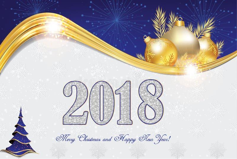Gelukkig Nieuwjaar 2018! - groetkaart met blauwe en zilveren achtergrond vector illustratie