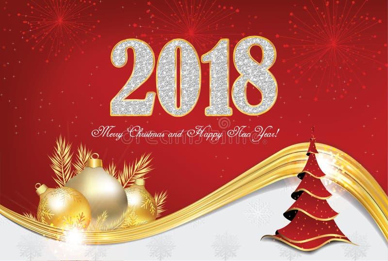 Gelukkig Nieuwjaar 2018! - groetkaart met rode achtergrond royalty-vrije illustratie
